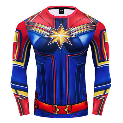 Superhero Captain Marvel Costume Cosplay Compression Tights Quick-Drying T-shirt](Superhero T Shirt Costume)