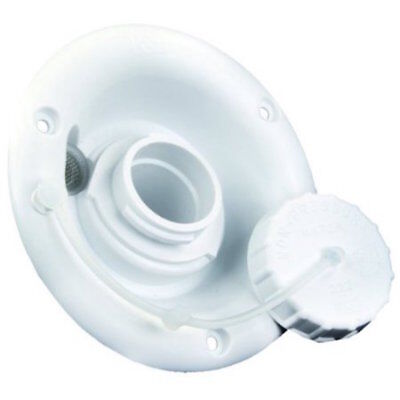 Round WHITE Gravity Fresh Water Fill Hatch Inlet UV Plastic RV Trailer Camper ()