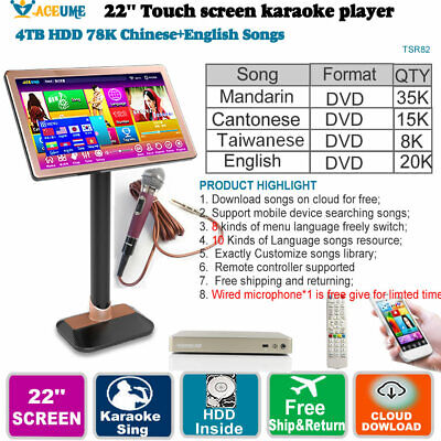 4TB HDD 78K Chinese DVD,English DVD Songs,Touch Screen Karaoke Player,22