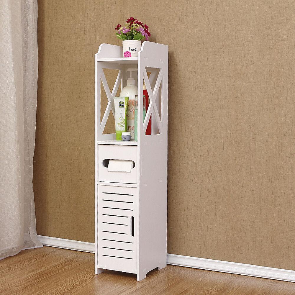 White unit bathroom furniture cabinet wood slim shelf for Slim white bathroom cabinet