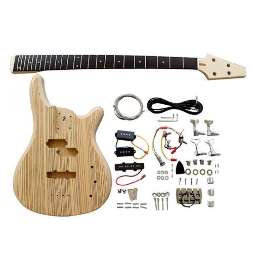 Electric Bass Guitar DIY Kit BZX2 Double Zebra Veneer Chrome Parts No Soldering