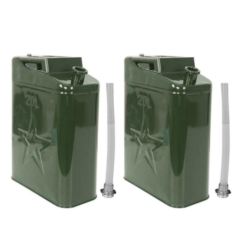 2PCS Jerry Can 5 Gal 20L Gasoline Fuel Can Metal Gas Tank Emergency Backup