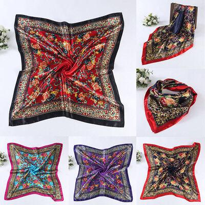 "New Women Big Square Silk-like Satin Large Scarf Wrap 35""*35"" Printing Shawl"