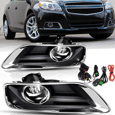 for 2013-2015 Chevy Malibu Clear Front Bumper Fog Lights Lamps+Switch+Wiring (Chevrolet Malibu Fog Light Lamp)