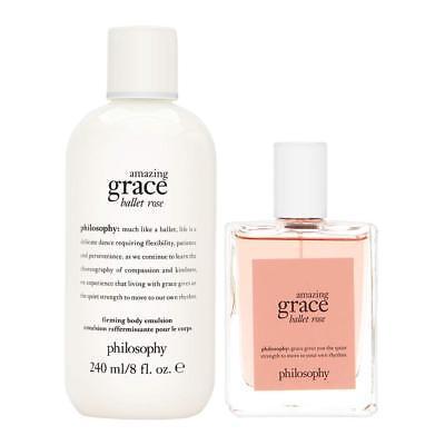 - NEW Philosophy Amazing Grace Ballet Rose Eau De Toilette Spray + Body Lotion SET