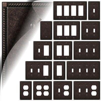 Bronze Toggle Switchplate - Georgian Tumbled Aged Bronze Switch Plate Toggle Duplex Wallplate Rocker Cover