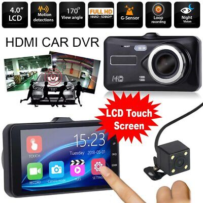 Dual Lens Dash Cam Camera HD 1080P Front Inside Rearview Car DVR w/ Night Vision