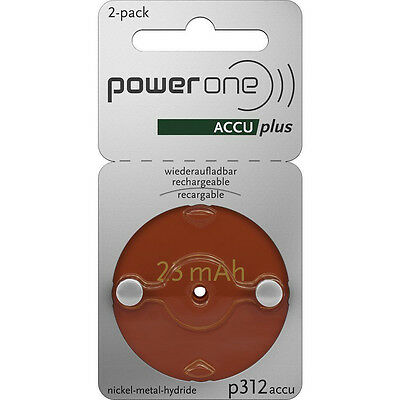 Powerone Accu Plus Size 312 Rechargeable Hearing Aid Batteries   Exp  2019
