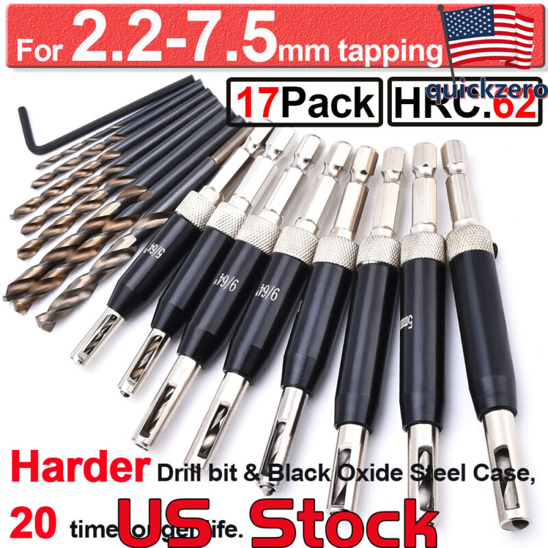 Self Centering Lock Hinge Drill Bit Set Hardware Pilot Hole Guide Steel Drilling