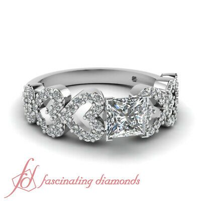 .80 Ct Princess Cut Diamond Linked Heart Pave Set Engagement Ring GIA Certified