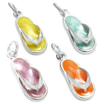- 925 Sterling Silver Glitter Enamel Flip Flop Sandal Charm (4 Colors)