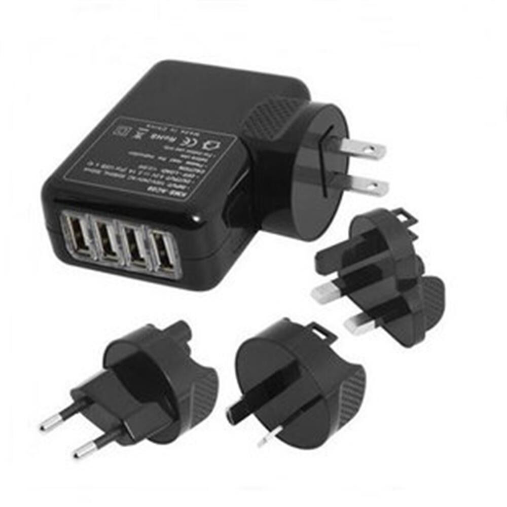 new 4 port usb travel charger mains wall ac multi adapter. Black Bedroom Furniture Sets. Home Design Ideas