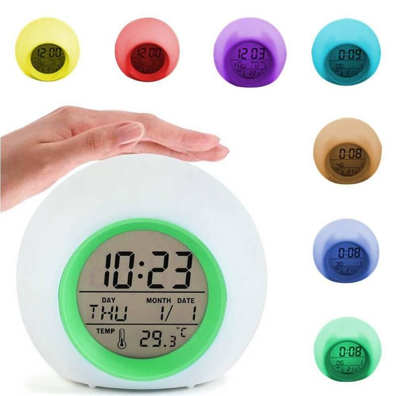 LED Wecker  Digital Kinder Alarmwecker Lichtwecker Stimmungslicht Nachttischlamp