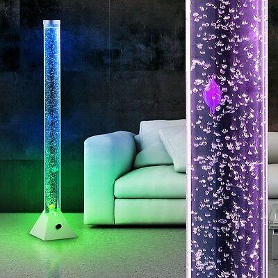 LED Wasser Sprudel Säule Farbwechsler 5 Deko Fische Steh Lampe Wohn Ess Zimmer (Säule Stehlampe)