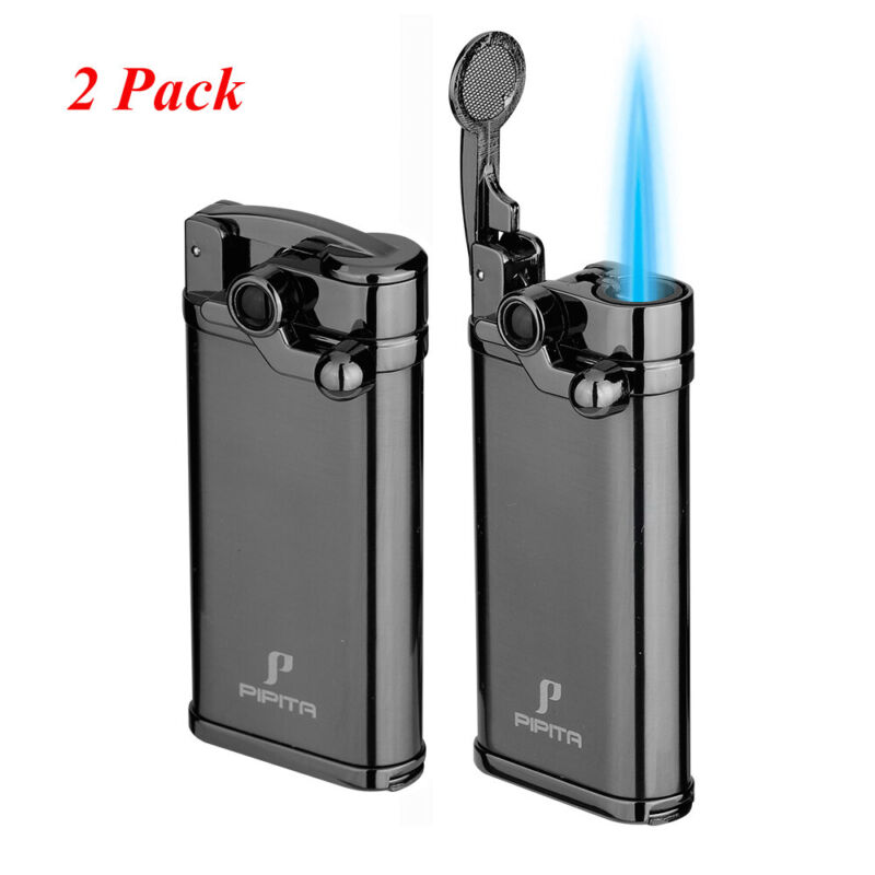 2 Pack PIPITA Windproof Single Torch Cigar Lighter Jet Flame Refillable w/ Punch