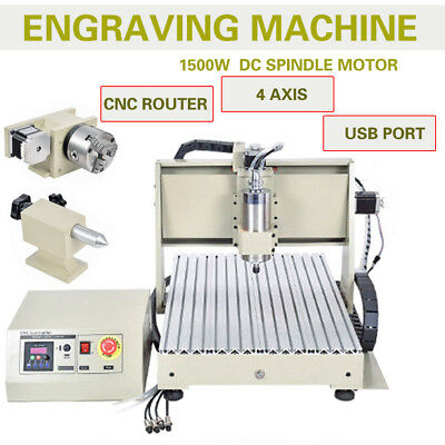 4 Axis Usb 1.5kw Spindlevfd Cnc 6040 Router 3d Cutting Engraving Machine Rc