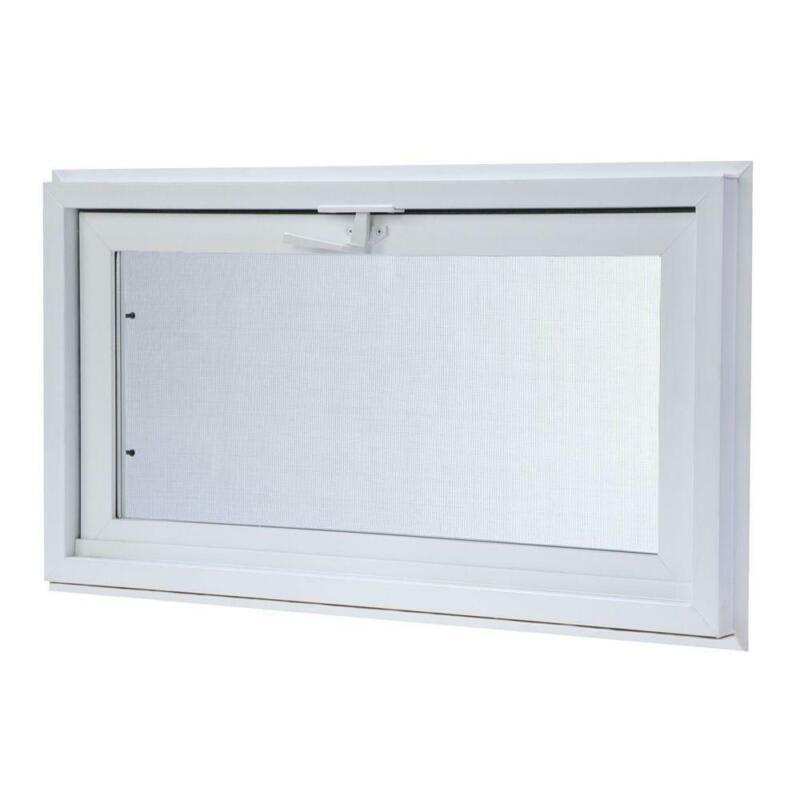 TAFCO White Hopper Vinyl Window w/ Screen 5 Sizes Heavy Duty Inward Insulated