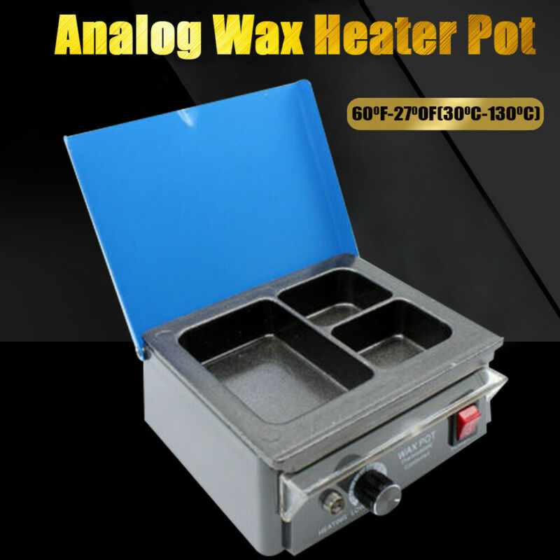 Dental Lab Electric 3-Well Analog Heater Melting Dipping Pot Paraffin Machine
