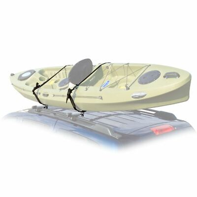 Vehicle Roof Mounted Kayak J-Rack Carrier with Tie-Down Straps