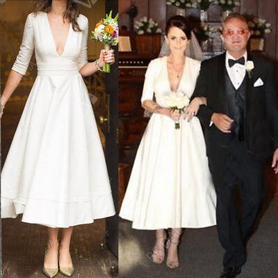 Simple Style Satin Wedding Dresses Garden Bridal Gown Tea Length V-neck Custom Simple Style Satin