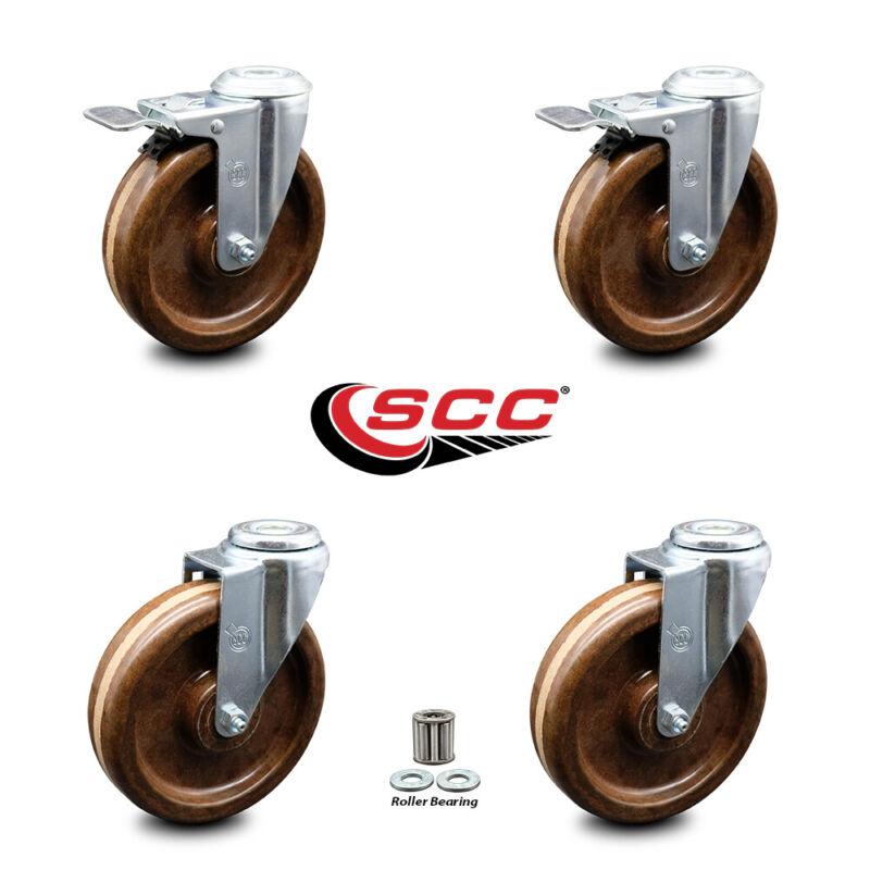 "High Temp Phenolic Swvl Bolt Caster Set 4 w/Roller Bearing-6"" Wheels-2 w/TTL BRK"