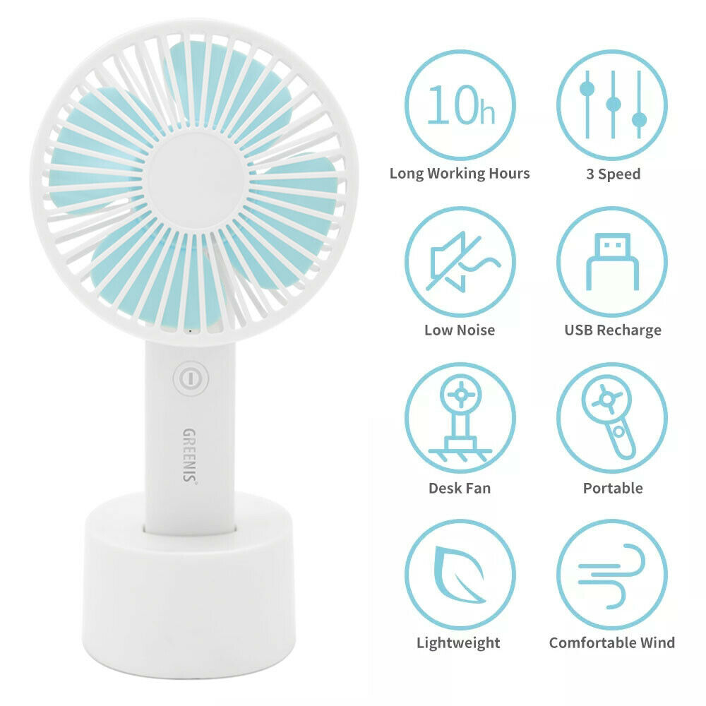 Mini Handheld Fan Portable Personal USB Rechargeable 3 Speed