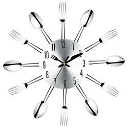 Large Modern Wall Clock Stainless Steel Knife Fork Spoon Flatware Home Art Decor