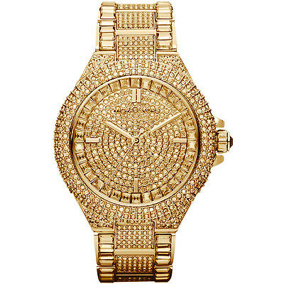 New Michael Kors Camille Gold Pave Dial Crystal Encrusted MK5720 Women's Watch