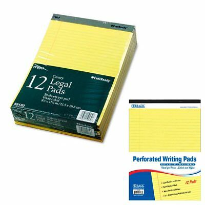 12 Ct Legal Note Pads Wide Ruled Pad Writing 8.5 X 11 Canary Yellow 50 Sheets