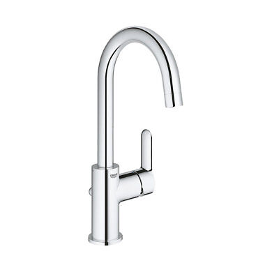 Grohe BAU EDGE Tall Bathroom Tap High-Spout Basin Mixer Swivel Spout (Edge Single Hole)
