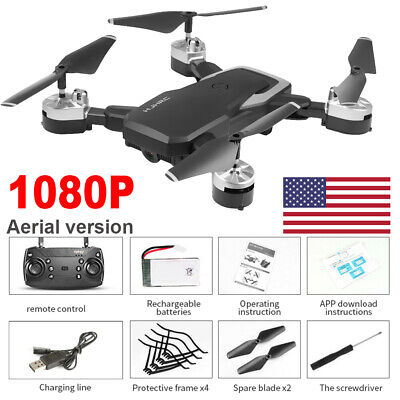 Quadcopter Drone 1080P HD With WIFI FPV Camera High Altitude Hold Foldable Black