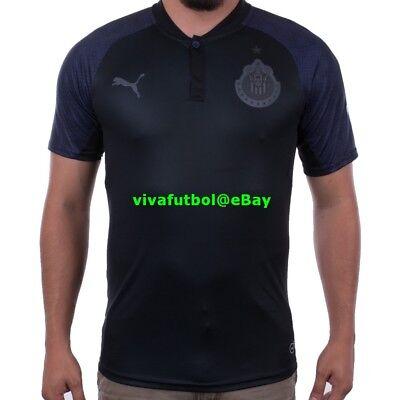 NEW Puma Mens Chivas Guadalajara 2017/18 LIGA MX Black Away Soccer Jersey SMALL image