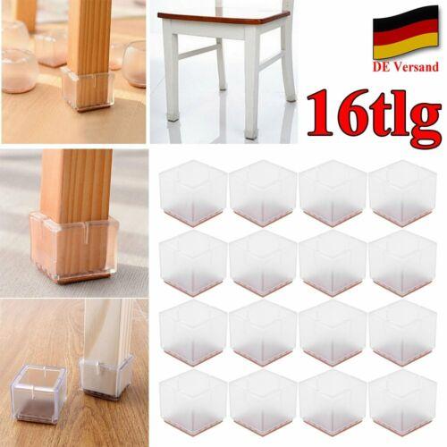 DE 16tlg Silikon Fußkappen Tisch Bein Stuhl Kappen Möbel Socken Schutz Füße Set