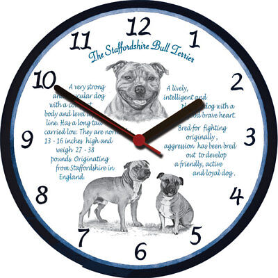 Staffordshire Bull Terrier Large Wall Clock - Dog Breed Origins Animal Facts
