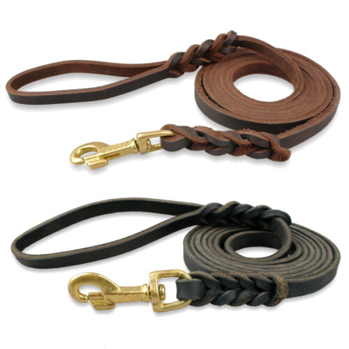 Brand Braided Genuine Leather Dog Pet Train Leash Prevent Bite Heavy Duty