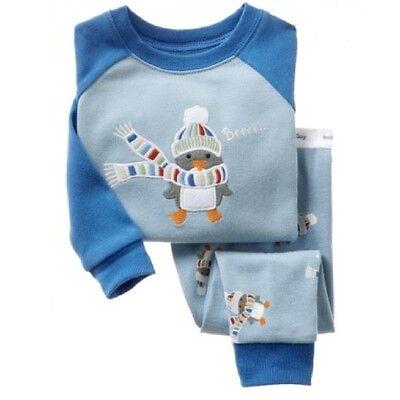 Boys pajamas set penguin Cartoon pattern Long-sleeved trousers sleepwear - Boys Long Sleeved Pajama Set