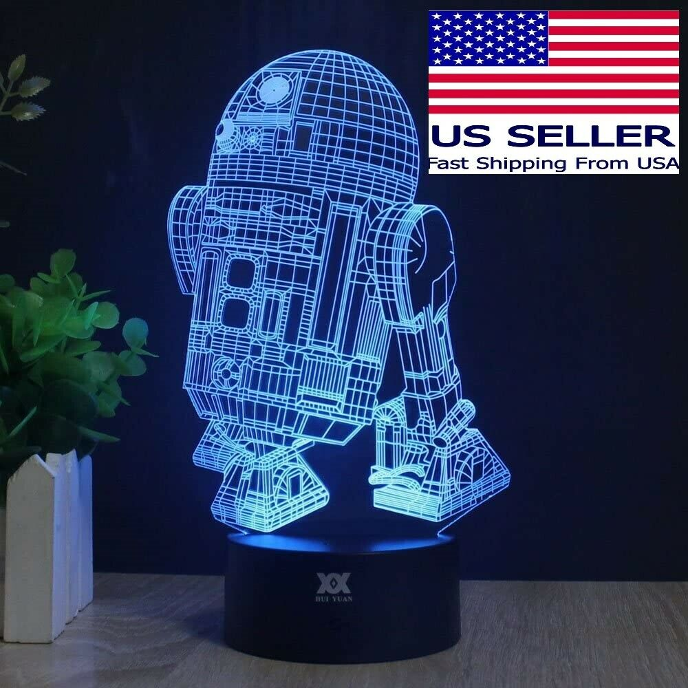 3D Multicolored LED R2-D2 Table Lamp Night Light USB or Battery Powered Home & Garden