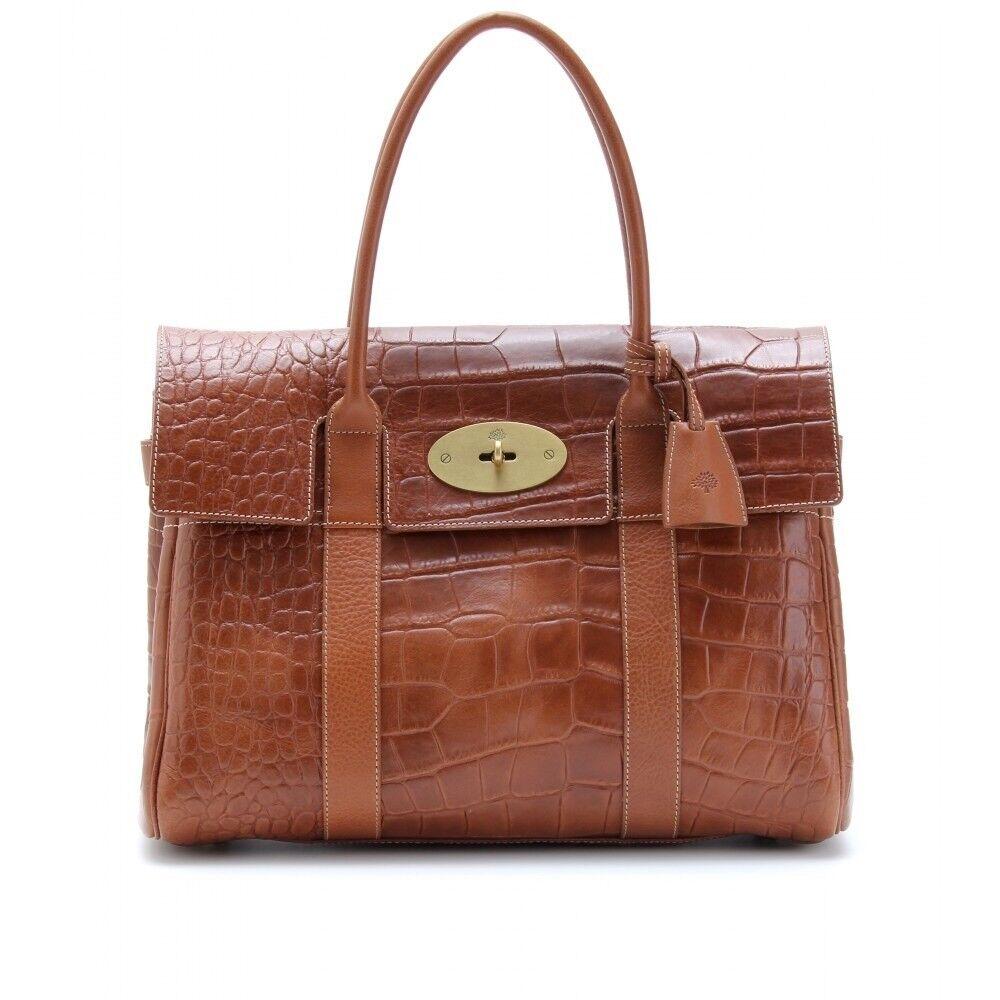 bd88a8bac7c9 Genuine Mulberry Bayswater in Tan Oak Croc Effect Leather Handbag ...