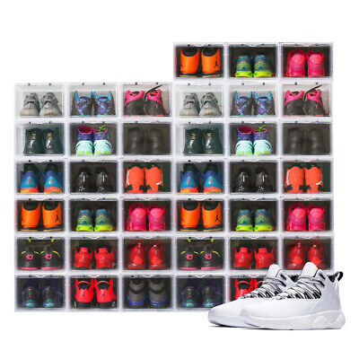 Mens Shoe Sneaker Box Clear Side Drop Crates Stackable Storage Container -