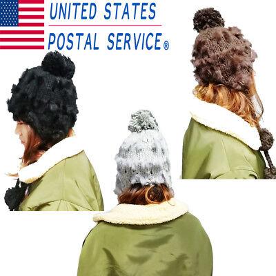 Women Ear Flap Wool Winter Faux Rabbit Hair Knit Beanie Ski Hat Cap w/ Ball - Earflap Beanie Ski Hat