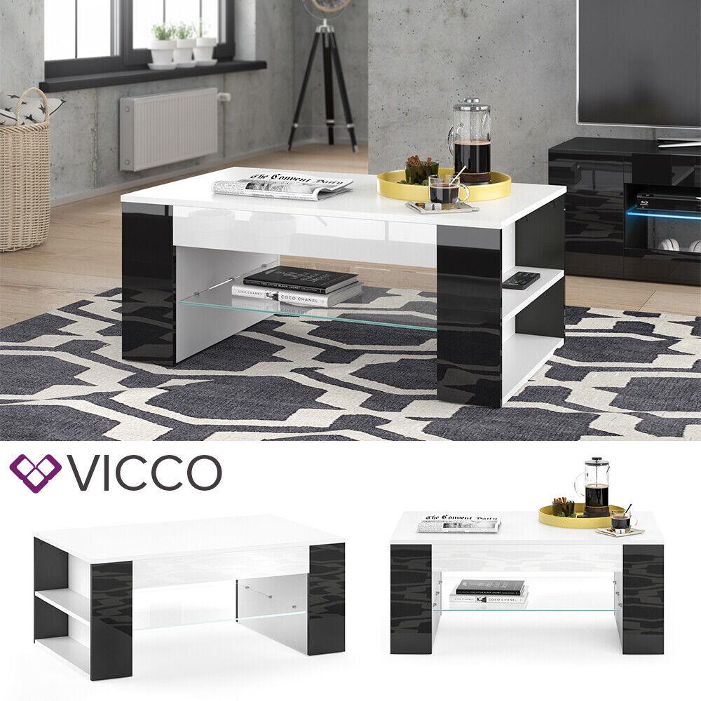 VICCO Couchtisch STELIOS in Weiß Schwarz Hochglanz  - Wohnzimmer Kaffeetisch