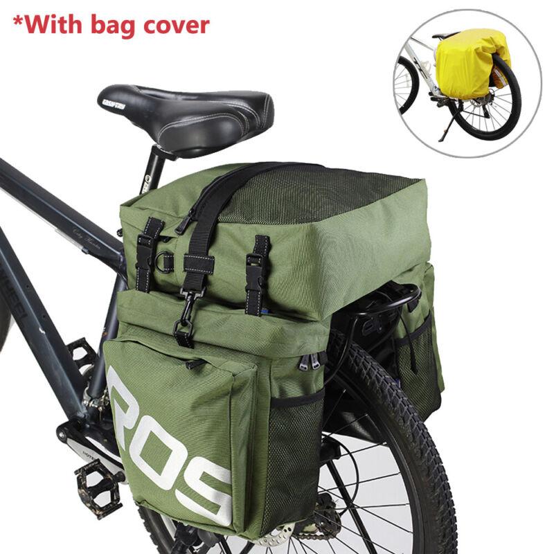 BV Bike Bag Panniers Rear Carrier Rack Nylon Bag Seat Storage Triple Pouch Green