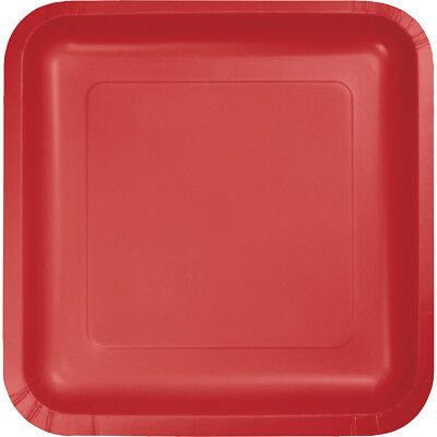 (36 Pack) Classic Red Square 9-inch Paper Plates Wedding Birthday Shower Party