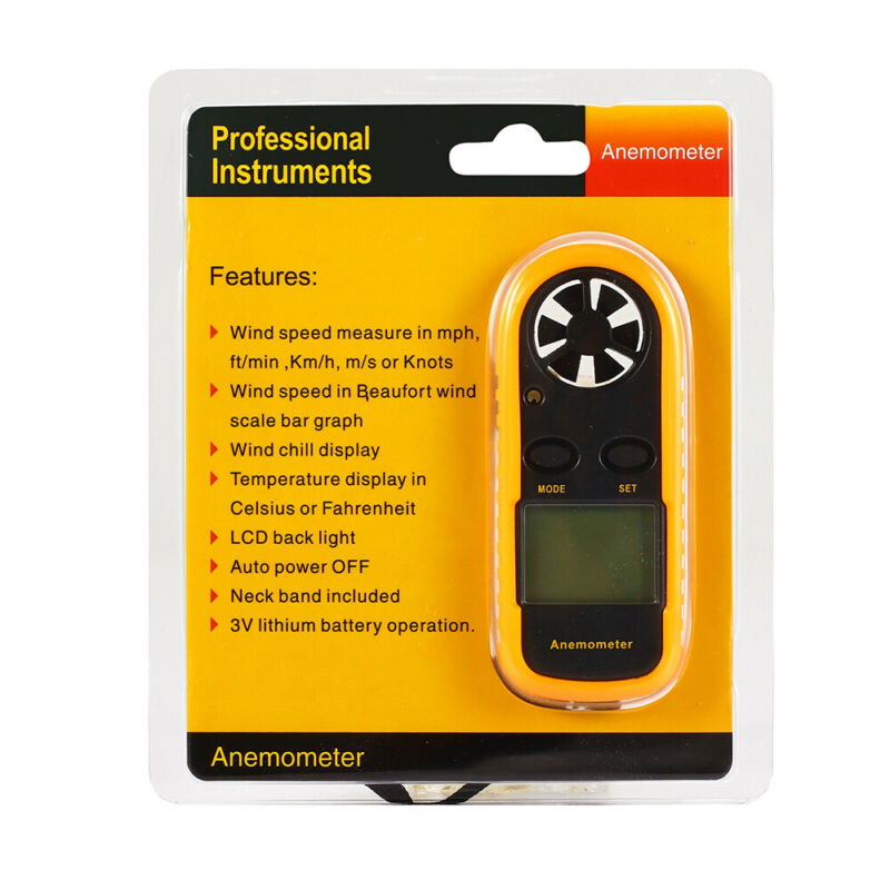 Digital LCD Air Wind Speed Anemometer Temperature Gauge Meter USA Stock tester