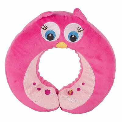 LittleLife Pink Owl Kids Child Travel Neck Pillow Cushion Support Car Plane
