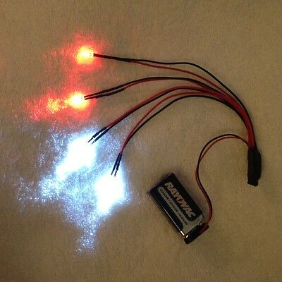 3 sets RC LED LIGHT KIT, 2 Super Bright Head lights And 2 Red Running Lights