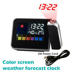 LED Digital Projection Alarm Clock Weather Thermometer Calendar Backlight