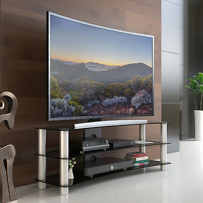 Fitueyes TV Stand Entertainment Center Media Furniture fit Curved Screen Tvs