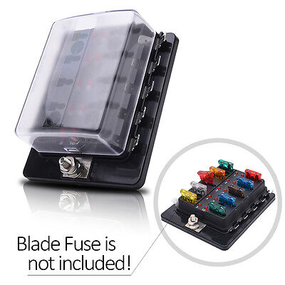 Blade Fuse Box Block Holder Off-road Car 10 way Automotive LED Terminals Circuit