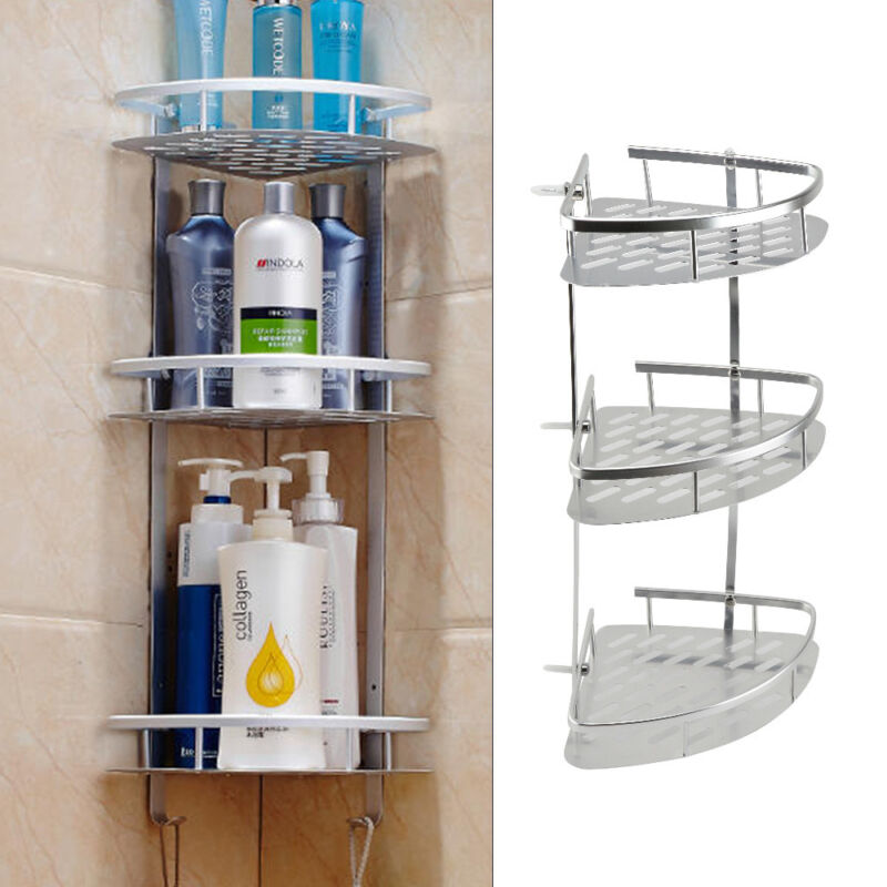 3 Tier Bathroom Corner Shower Shelf Rack Organiser Bath Accessory Sets Plant
